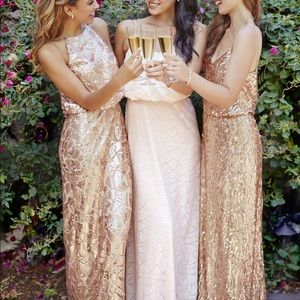 💐 BHLDN Donna Morgan Rose Gold Sequin Gown NWT
